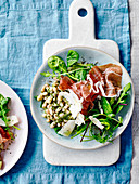 Pesto beans with Parma ham and Parmesan