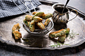 Breaded and baked avocado sticks