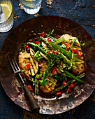 Grilled mixed vegetables and chillis with Ciabetta