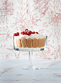 Trifle with sour and raspberries
