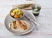 Hühnerbrust mit Senfsauce und Bratkartoffeln