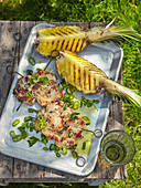 Chicken steak with grilled pineapple and Caribbean salsa