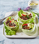 Chicken liver with yogurt dressing with lettuce