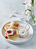 Simple pancakes with ricotta and fruit broth