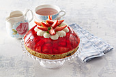 Dome-shaped strawberry cake