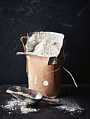 Flour in a bag against a dark background