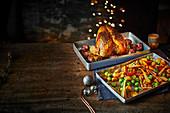 Truthahn mit ofengeröstetem Gemüse zu Weihnachten