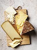 Vintage cheddar, Comté, grated Saganaki
