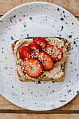 Almond butter sandwich with strawberries