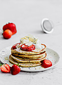 Poppyseed pancakes with strawberries