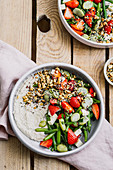 White bean hummus and bean salad