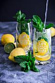 Lemon lemonade in glasses