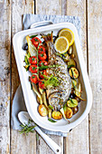 Oven-baked vegetable bream