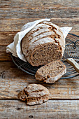 Wholemeal sourdough bread, sliced