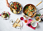 Apulian-style baked rice with potatoes and mussels, Thai spicy chilli and basil fried rice