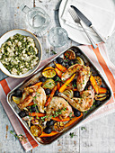 Chicken with roasted beetroot and bean potato mash