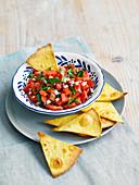 Tomato salsa with homemade nachos
