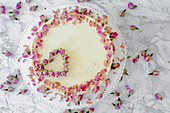 Yoghurt cake with edible rose petals