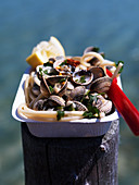 Spaghetti vongole in a cardboard bowl on a wooden post by the sea