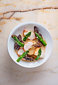 Lobster with morel mushrooms and green asparagus