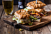 Focaccia burgers with beer