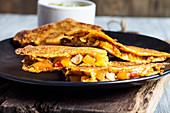 Gluten-free corn quesadillas with a chicken fajita filling
