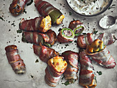Stuffed jalapenos wrapped in bacon