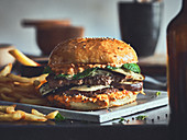 Smashed burger with eggplant, peppermint and sauce