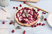 Baked New York cheesecake with raspberries for Easter