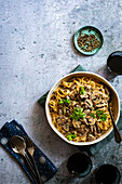 Ostrich and Mushroom Stroganoff with Cabernet Sauvignon