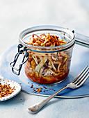 Sauerkraut auf Kimchi-Art im Bügelglas