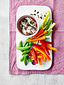 Smoked mackerel pate with vegetable sticks