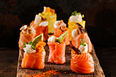 Sushi rolls with salmon, avocado and cream cheese