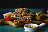 Buckwheat crackers on wooden board