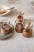 Chocolate cream in jars
