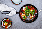 Shakshuka with baby spinach