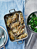 Roasted chicory with mustard and walnuts