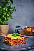 Vegan lasagne with cashew nut Béchamel sauce and sunflower mince