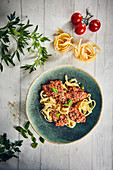 Tagliatelle with a vegan lentil 'bolognese' and cashew nut cream