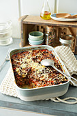 Aubergine moussaka with minced lamb