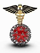 Coronavirus research, conceptual illustration