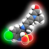 Hydroxychloroquine sulfate, molecular model