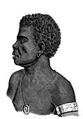 Monbai chief, New Guinea, 19th century illustration