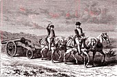 17th century artillery team, illustration