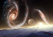Interacting galaxies Arp 273, illustration