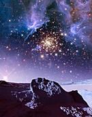 Star cluster NGC 3603, illustration