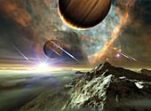 Earth-like exoplanets in Orion nebula, illustration