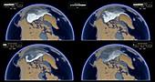 Age distribution of Arctic Ice, 1992-2019