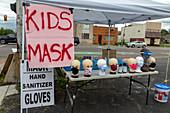 Face mask stall, Michigan, USA