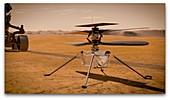 Mars 2020 helicopter on Mars, illustration